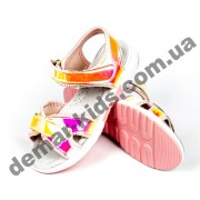 Детские голографические босоножки Apawwa GX187-1 (GX188-1) PINK розово-желтые