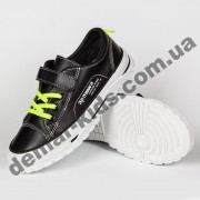 Детские кроссовки кеды Apawwa VC73-1 BLACK черно-зеленые 31-36