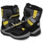 Детские термоботинки B&G Termo черно-желтые маленькие