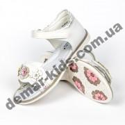 Детские ортопедические босоножки Bessky белые цветы средние