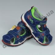 Детские кожаные ортопедические босоножки Clibee сине-зеленые