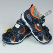 Детские кожаные ортопедические босоножки Clibee сине-оранжевые