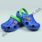 Детские сабо кроксы (сланцы, шлепки, вьетнамки ) Jose Amorales синие машинка