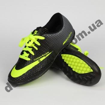 Детские футбольные сороконожки Nike черно-зеленые - 2