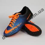 Детские футбольные сороконожки Nike сине-оранжевые - 2