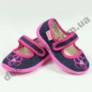 Детские тапочки Vitaliya сине-розовые цветочек