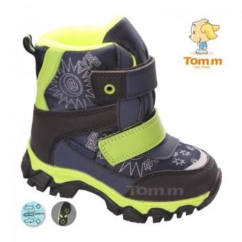 Детские термоботинки Том М черно-зеленые маленькие