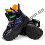 Детские термоботинки-дутики Том М C-T7712-B черно-синие средние