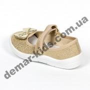 Детские тапочки Waldi блестящие золотые бантики