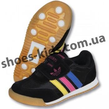 Детские кроссовки Adidas черные цветные полоски ( полиуретан )