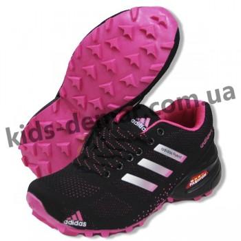 Детские кроссовки Adidas черно-малиновые ( подросток ) NEW